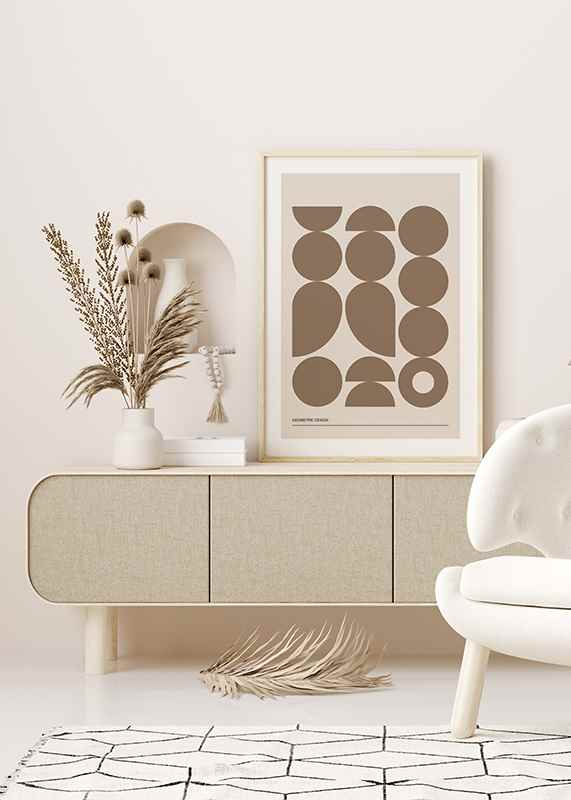 Geometric Graphic Beige No1-4