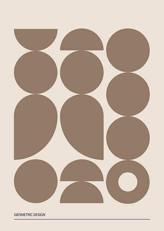 Geometric Graphic Beige No1-3
