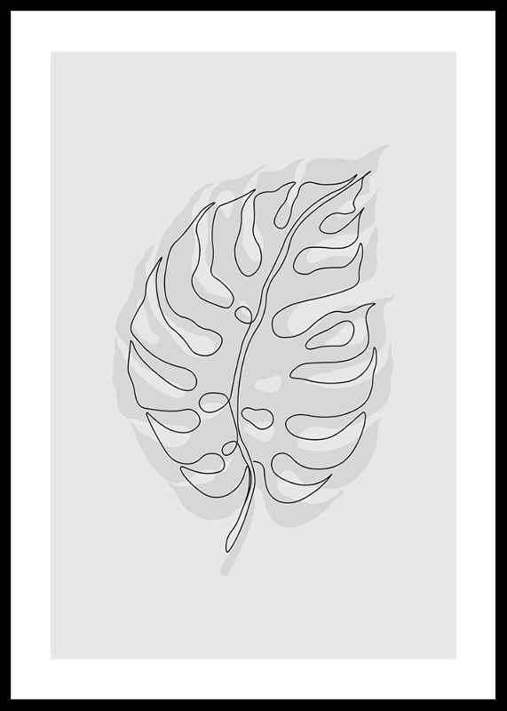 Cutout Monstera Gray-0