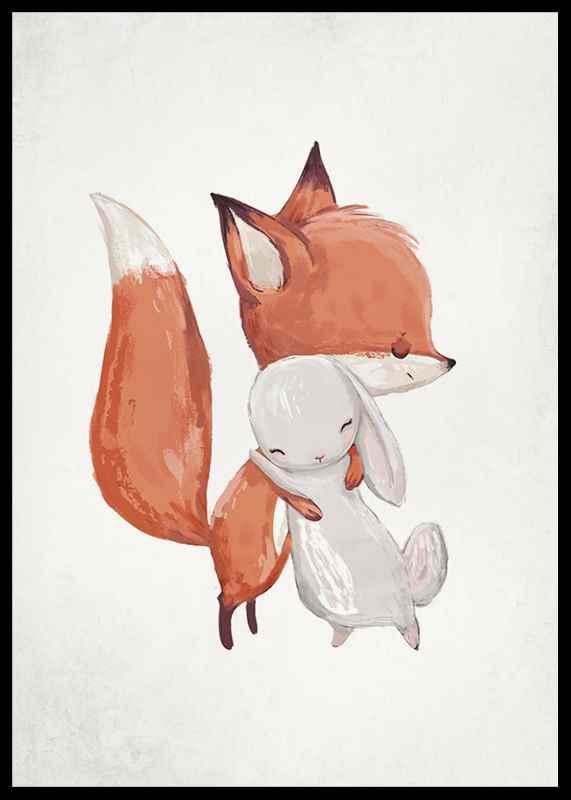 Watercolor Fox And Bunny-2
