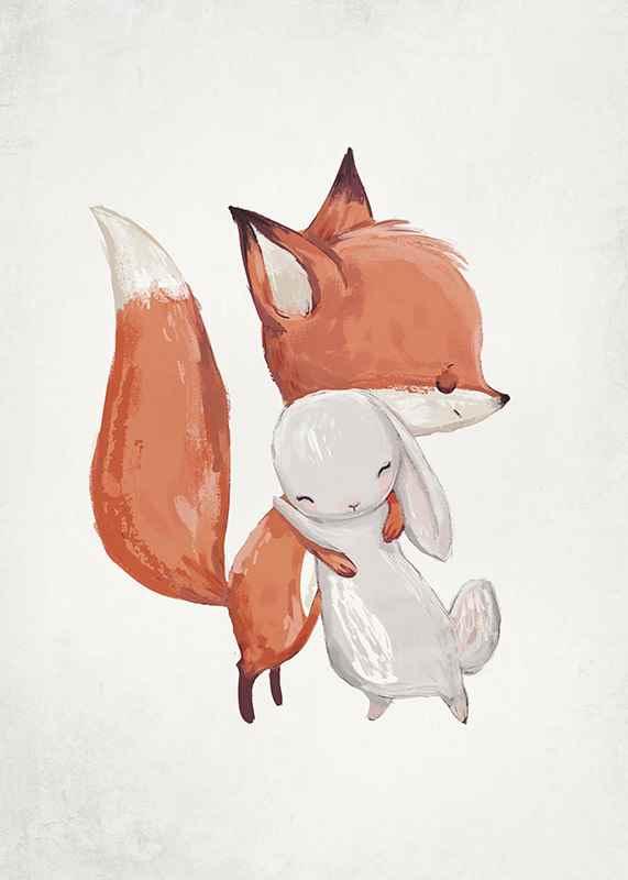Watercolor Fox And Bunny-3