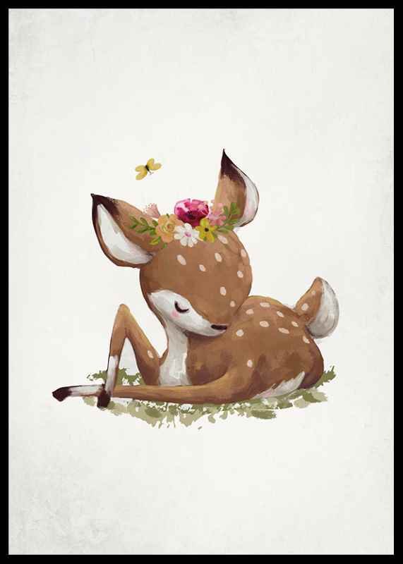 Watercolor Sleepy Deer-2