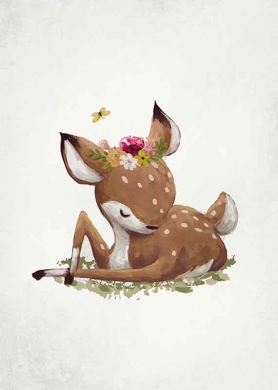 Watercolor Sleepy Deer-3