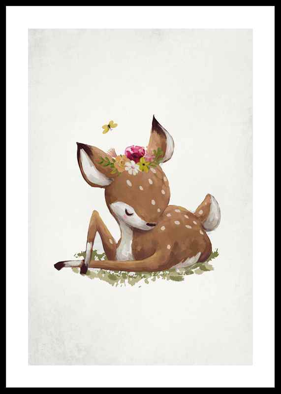 Watercolor Sleepy Deer