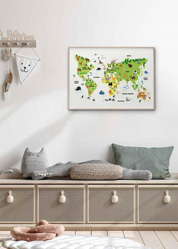 Barnens Världskarta Med Djur-4