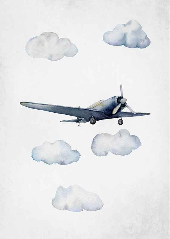 Watercolor Airplane-3