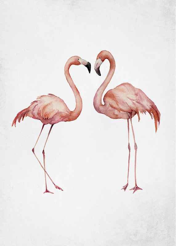 Watercolor Flamingos-3