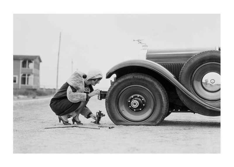 Old Car Flat Tire-1