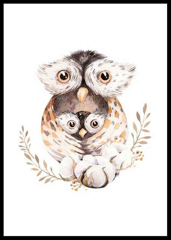 Watercolor Owl Family
