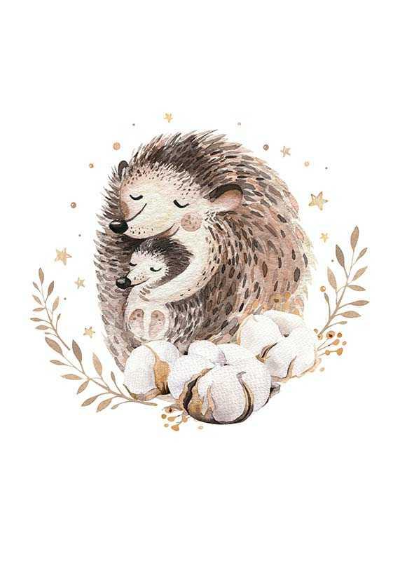 Watercolor Hedgehog Family-1