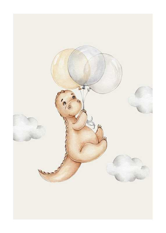 Dino With Balloons-1