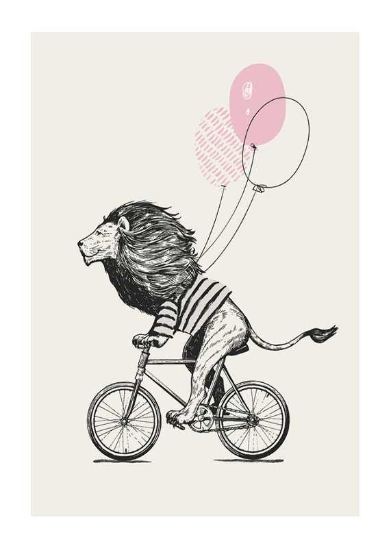 Lion On Bicycle-1